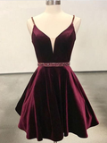 Simple Spaghetti Strap V Neck Open Back A Line Short Homecoming Dress, BTW194