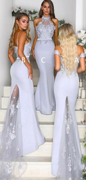 Mismatched Lace Appliuqe Lilac Elastic Satin Mermaid Bridesmaid Dresses,DB123