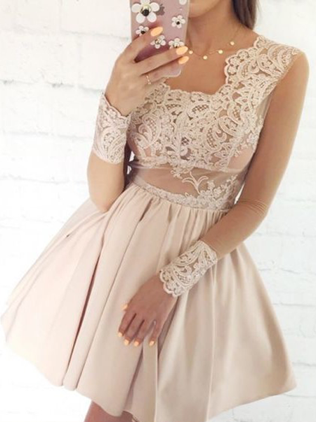 Elegant Square Neckline Long sleeves Lace Top A Line Short Homecoming Dress, BTW180