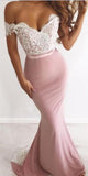Off the Shoulder Lace Top Mermaid Long Bridesmaid Dresses MD310