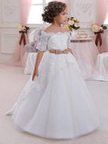 Off the Shoulder Short Sleeves Cheap Flower Girl Dresses, GTE2118