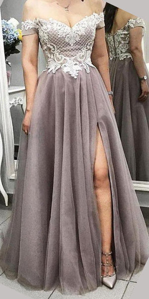Off the Shoulder Side Slit A Line Lace Tulle Prom Dresses,DPB3110