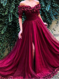 Off the shoulder Half Sleeves A Line Tulle Long Prom Dresses DPB3108