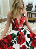 Open Back V-neck A-line Long Evening Party Prom Dresses PB3102