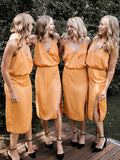 Orange Spaghetti Strap V-neck Knee Length Summer Wedding Bridesmaid Dresses ,PB1072