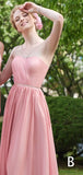 Pink Chiffon Mismatched A-line Long  Bridesmaid Dresses,PB1061