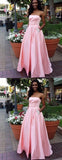 Pink Satin Beaded Pockets Strapless Ball Gown Sweet-16 Prom Dresses, DB1127
