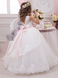 Princess Tulle Applique Long Cheap Flower Girl Dress GTE2119