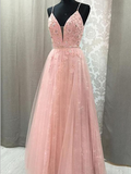 Elegant A Line Spaghetti Strap V-neck Long Prom Dresses With Appliques , DPB158