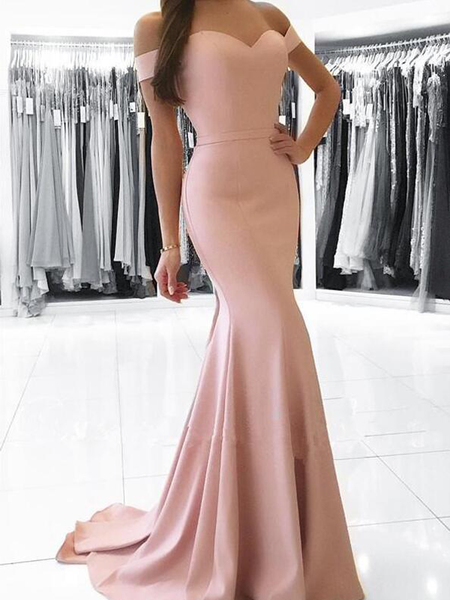 Elegant Off The Shoulder Jersey Mermaid Long Prom Dresses , DPB159