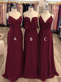 Simple A Line Spaghetti Strap Chiffon Burgundy Long Bridesmaid Dresses, DPB162