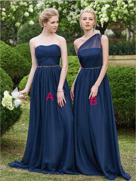 Pretty One Shoulder Strapless Chiffon A Line Bridesmaid Dresses ,MD347