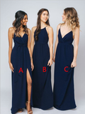 Mismatched Navy Blue Simple Floor Length Chiffon Long Bridesmaid Dresses, SW1039