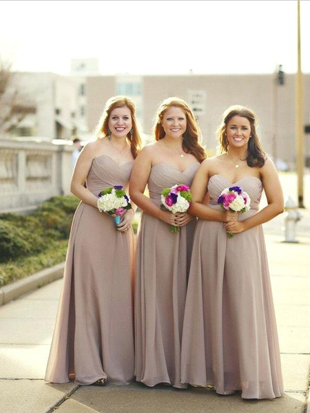 Simple Sweetheart A Line Sleeveless Chiffon Long Bridesmaid Dresses, MD527