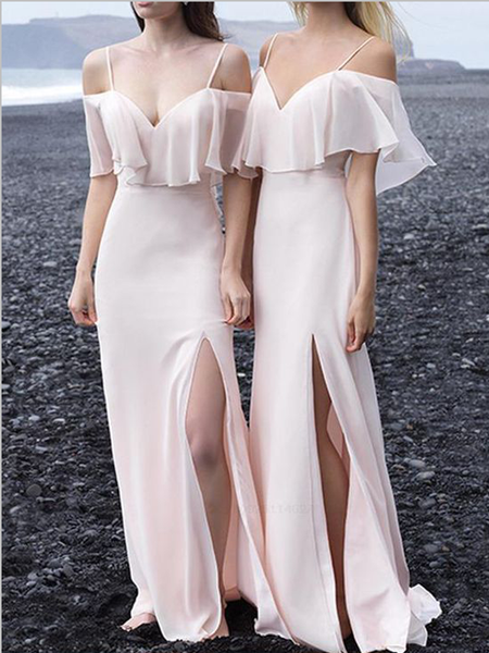 Simple Off The Shoulder Backless Spaghetti Straps Side Slit Bridesmaid Dresses ,MD345