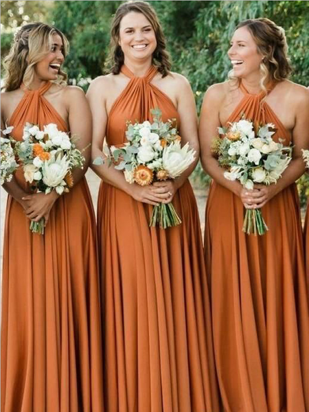 Simple Halter A Line Backless Floor Length Chiffon Long Bridesmaid Dresses, SW1025