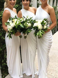 Fashion One Shoulder Sleeveless With Pleats Mermaid Long Bridesmaid Dresses, SW1089