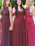 Pretty Mismatched Chiffon A Line Floor Length Long Bridesmaid Dresses, SW1065