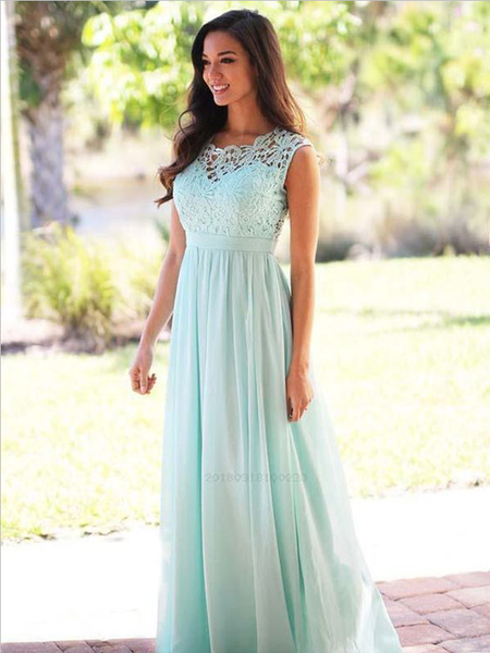 Pretty Lace Top A Line Sleeveless Floor Length Chiffon Long Bridesmaid Dresses, SW1014