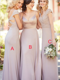 Mismatched A Line V Neck Floor Length Cheap Chiffon Long Bridesmaid Dresses, MD485