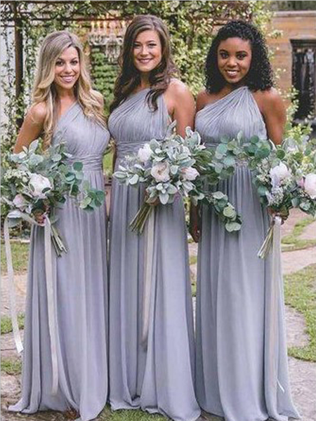 Pretty One Shoulder Dusty Blue Floor Length Chiffon Long Bridesmaid Dresses, SW1028