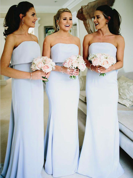 Elegant Strapless Light Blue Cheap Mermaid Chiffon Long Bridesmaid Dresses, MD467
