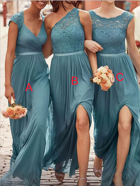 Charming Mismatched Chiffon Lace Top A Line Elegant Long Bridesmaid Dresses, SW1048