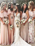 Mismatched A Line Floor Length Cheap Chiffon Long Bridesmaid Dresses, SW1038