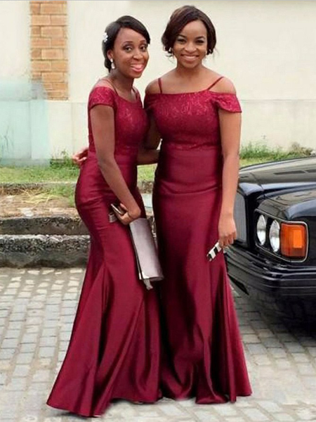 Simple Burgundy Off The Shoulder Mermaid Satin Long Bridesmaid Dresses,SW1018