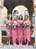 Mismatched Simple Elastic Satin High Low Sleeveless Long Bridesmaid Dresses, SW1067