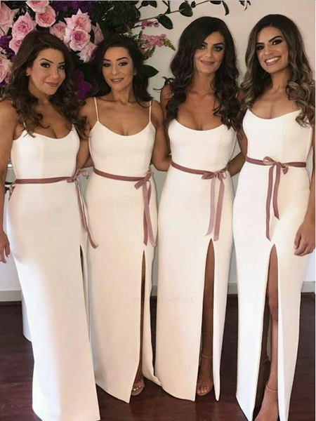 Simple Elegant Spaghetti Strap Side Slit Floor Length Long Bridesmaid Dresses, SW1081