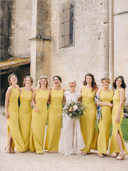 Simple Yellow Sleeveless Side Slit Floor Length Long Bridesmaid Dresses, MD517