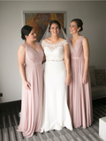Simple V Neck Sleeveless Chiffon A Line Floor Length Long Bridesmaid Dresses, SW1041