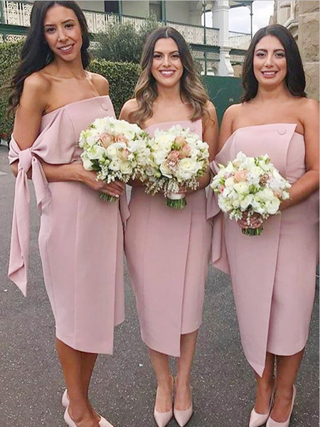 Unique Strapless Sleeveless Knee Length Short Bridesmaid Dresses, SW1092