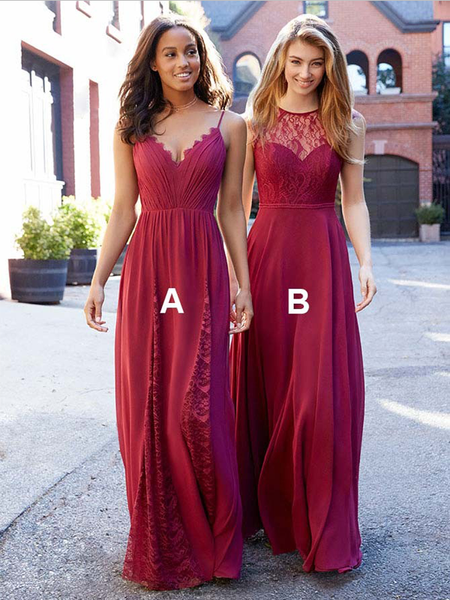 Pretty Mismatched A Line Spaghetti Strap Chiffon Lace Long Bridesmaid Dresses, SW1029