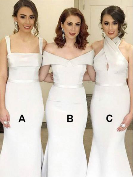 Cheap Mismatched Ivory Sleeveless Mermiad Long Bridesmaid Dresses, SW1079