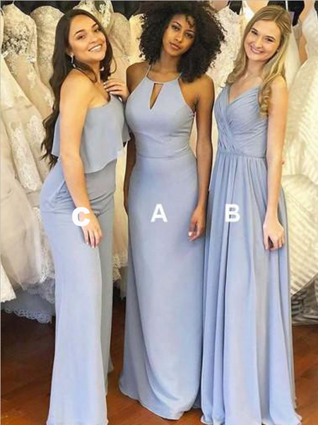 Affordable Mismatched A Line Chiffon Floor Length Long Bridesmaid Dresses, SW1080