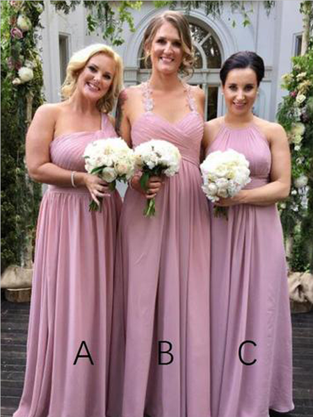 Mismatched A Line Cheap Chiffon Floor Length Long Bridesmaid Dresses, MD502