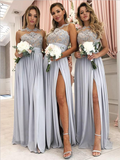 Pretty Sheer Neck Lace Top A Line Side Slit Chiffon Long Bridesmaid Dresses, SW1010