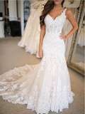 Pretty Lace Applique Spaghetti Straps V Neck Mermaid Wedding Dresses ,MD346