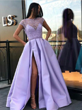 Modest A Line Side Slit With Beaded Short Sleeves Long Prom Dresses ,MD381