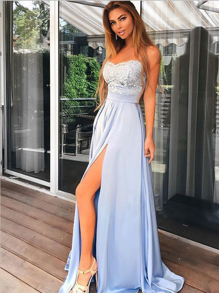 Pretty Sweetheart Lace Top A Line Side Slit Long Evening Prom Dresses, MD388