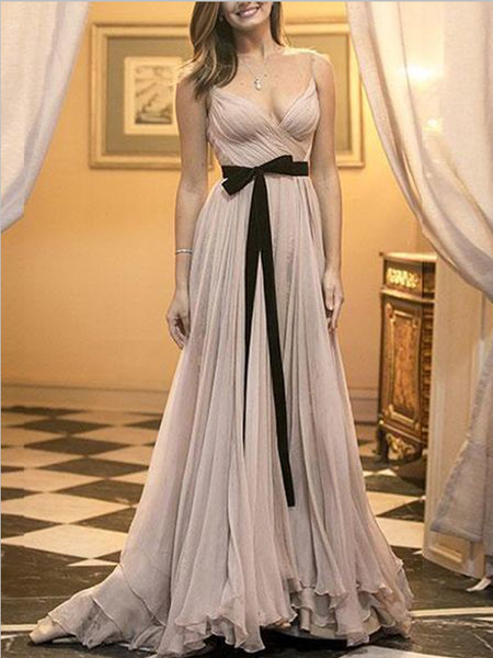 Simple Spaghetti Straps V Neck Floor Length Long Chiffon Prom Dresses, MD401