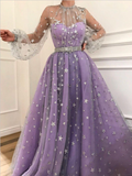 Unique Long Sleeves A Line Sparkly Star Tulle Evening Dresses Long Prom Dresses, MD425