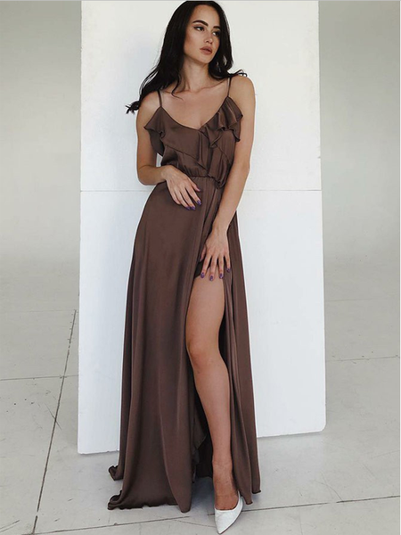 Modest Spaghetti Straps High Side Slit V Neck Long Prom Dresses ,MD352