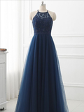 Simple Navy Blue Halter A Line Tulle Lace With Beading Long Prom Dresses, MD419
