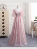 Elegant Half Sleeves A Line Lace V Neck Evening Dresses Long Prom Dresses, MD421