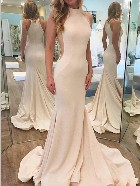 Popular High Neck Sleeveless Sweep Trailing Mermaid Long Evening Prom Dresses, MD385