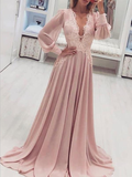 Fashion A Line V Neck Long Sleeves Lace Applique Chiffon Long Prom Dresses, MD399