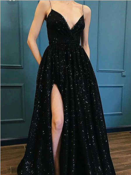 Popular Spaghetti Straps V Neck Side Slit A Line Black Sequin Long Prom Dresses, MD440